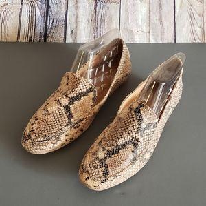 NWOB Qupid Snakeskin Look Flat Loafers Sz 9